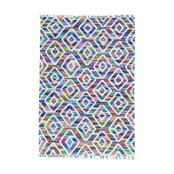 Multicolor Hand Woven Colorful Kilim Wool and Sari Silk Oriental Rug (4'10 x 7')