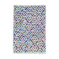 Multicolor Hand Woven Colorful Kilim Wool and Sari Silk Oriental Rug