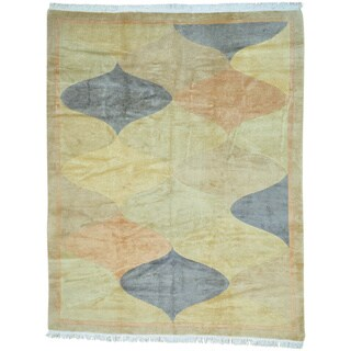 Beige Modern Nepali with Pastel Colors HandKnotted Oriental Rug (8'9 x 11'3)