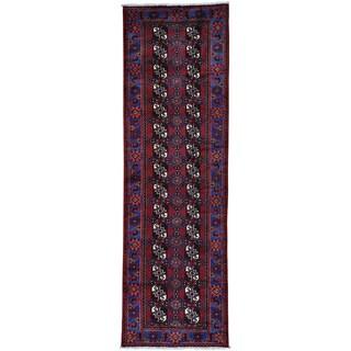 Red Wide Runner Persian Baluch Turkoman Design Oriental Rug (4'1 x 13')