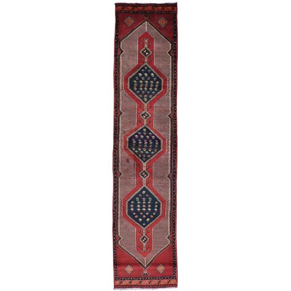 Red Semi Antique Persian Mazlaghan Runner Handmade Rug - 2'10 x 12'10