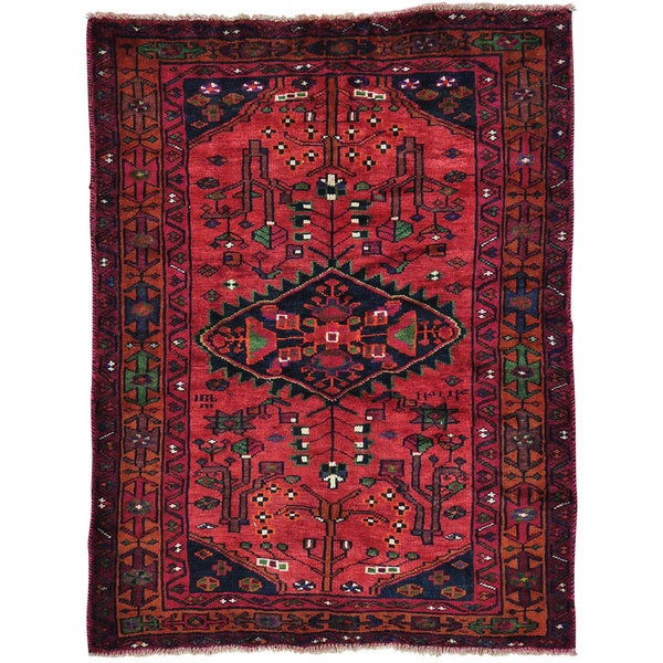 5 X 6 Vintage Kazak Persian Oriental Wool Hand Knotted: Red Hand Knotted Semi Antique Persian Hamadan Wool Rug (5