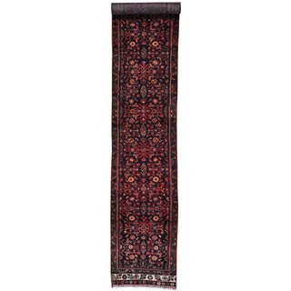 Black Runner Semi Antique Persian Hussainabad Hand Knotted Rug (2'5 x 13'2)