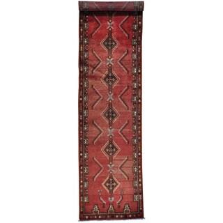 Red Runner Semi Antique Persian Hamadan Handmade Oriental Rug (3'1 x 13'4)