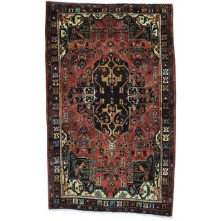 Red Hand Knotted Semi Antique Persian Mosel Rug (4'3 x 7'1)