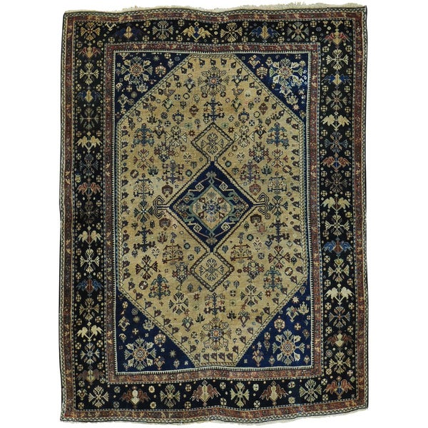Beige Antique Persian Qashqai with Some Repairs Good Cond Rug - 4'1 x 5'4