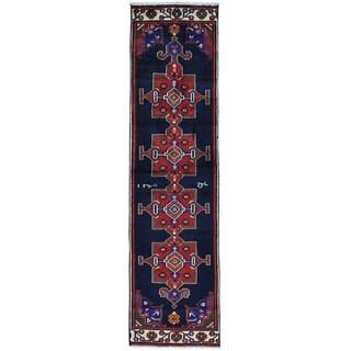 Blue Semi Antique Persian Tribal Hamadan Runner Handmade Rug (2'7 x 9'8)