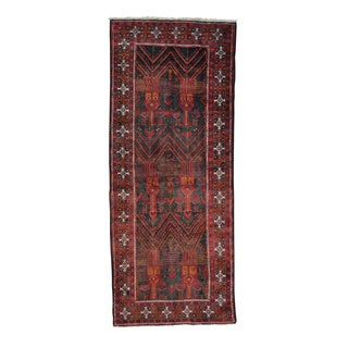 Black Wide Runner Old Persian Baluch Hand Knotted Oriental Rug (4'2 x 9'10)