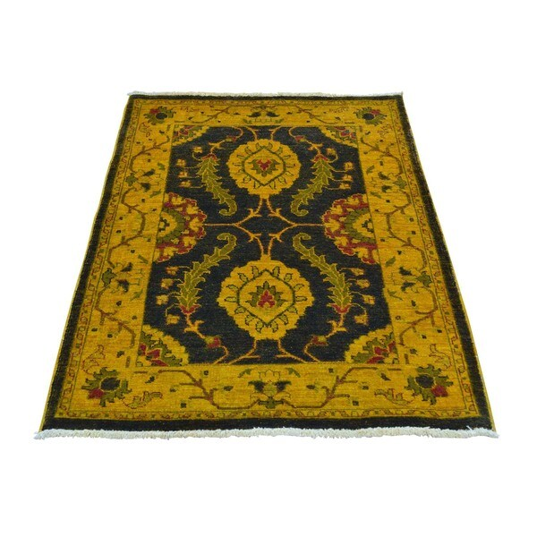 Black Pure Wool Peshawar Mahal Design Hand Knotted Oriental Rug - 2'9 x 4'