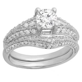 Elora 14K-karat White/Yellow Gold Round-cut White Diamond Ladies' 2-piece Bridal Engagement Ring