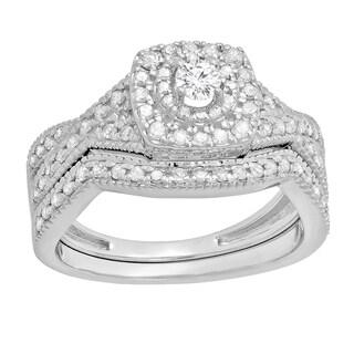14k Gold 5/8ct TDW Diamond Swirl Halo Bridal Set (I-J, I1-I2)