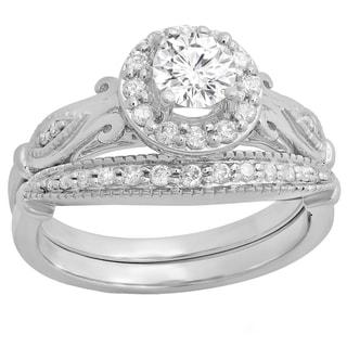 Elora 14k Gold 7/8ct TDW Diamond Halo Vintage Engagement Bridal Set (I-J, I1-I2)