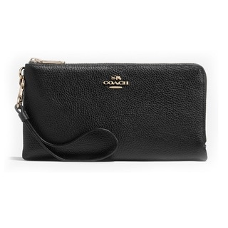 Coach Polished Pebble Leather Double Zip Wallet
