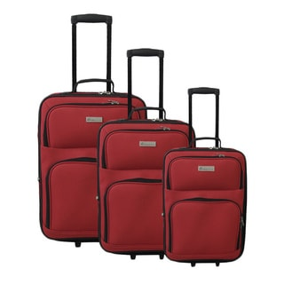 McBrine Red Polyester 3-piece Expandable Rolling Luggage Set
