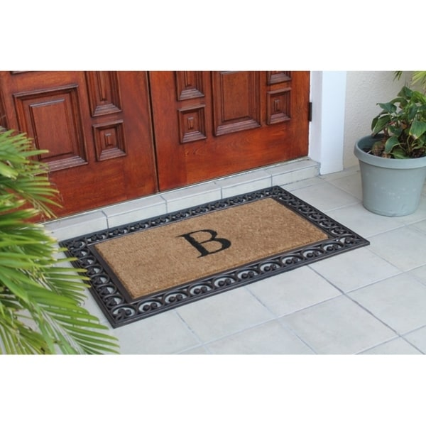 Superieur First Impression Natural/ Brown Rubber/ Coir Classic Paisley Border  Extra Large Double Door