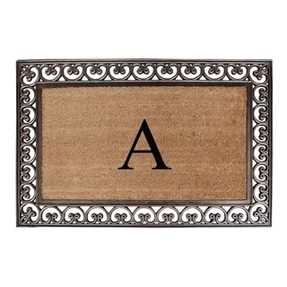 First Impression Natural/ Brown Rubber/ Coir Classic Paisley Border Extra-large Doubledoor Monogrammed Doormat