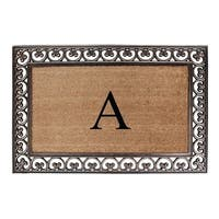 "First Impression Natural/ Brown Rubber/ Coir Classic Paisley Border Extra-large Double door Monogrammed Doormat-30"" x 48"""