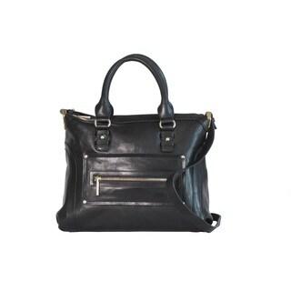 Joanel Favorites Black Leather Satchel Handbag