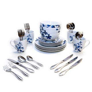 Oneida American Harmony Tranquility Blue/White/Silver Porcelain Set (Service for 4 or 8)