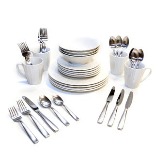 Oneida Ori/Everdine Dinnerware and Flatware Bundles (Service for 4 or 8)