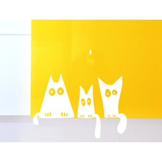 Funny cats family sitting Wall Art Sticker Decal White