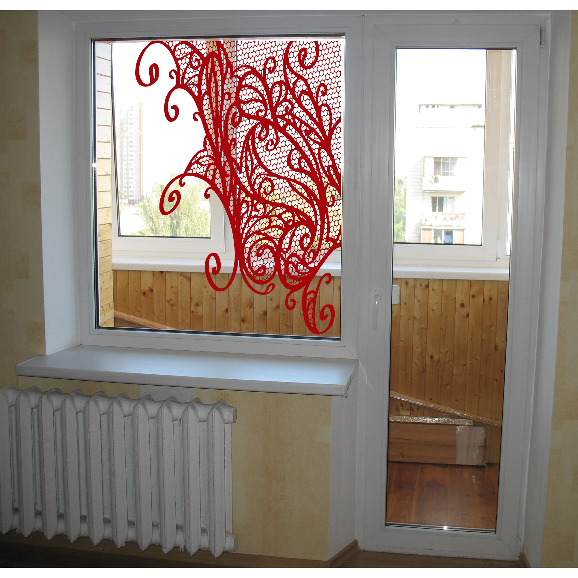 Template flowers window Wall Art Sticker Decal Red (22 in...
