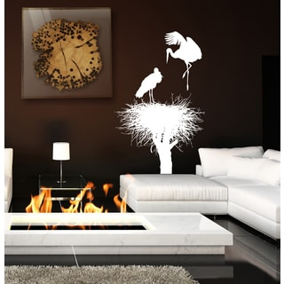 landscape tree plant nest heron Wall Art Sticker Decal White