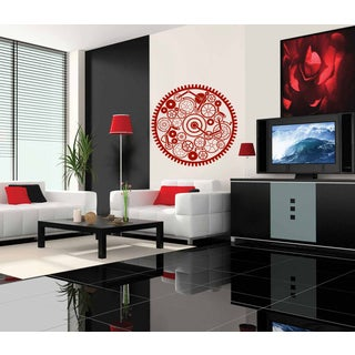 A circle mechanism nuts screws Wall Art Sticker Decal Red