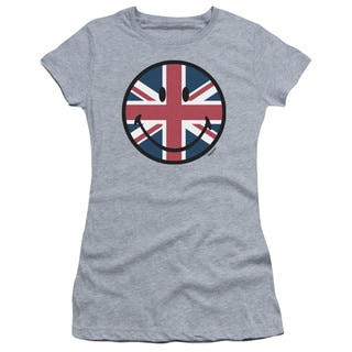 Smiley World/Union Jack Face Junior Sheer in Heather in Athletic Heather