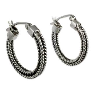 Handmade Sterling Silver 'Double Braid' Earrings (Mexico)