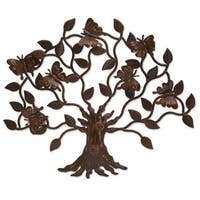 Handmade Iron 'Butterfly Tree' Wall Sculpture (Mexico)