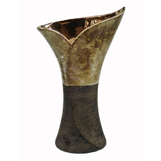 D'Lusso Designs Madison Collection Brown and Gold Ceramic Flare Vase