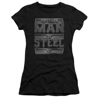 Superman/Steel Text Junior Sheer in Black