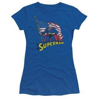 Superman/American Flag Junior Sheer in Royal