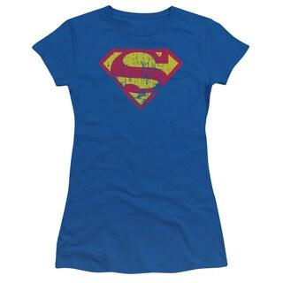 Superman/Classic Logo Distressed Junior Sheer in Royal