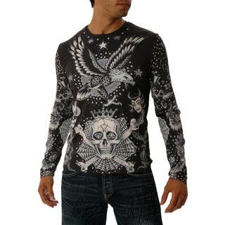 YellowMan Men's Black Jersey Knit Polyester High-performance Tattoo T-shirt