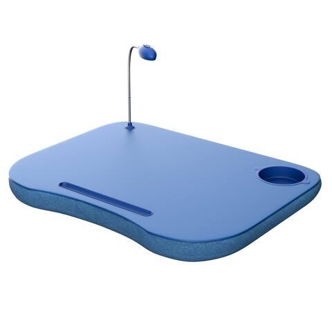 Laptop Lap Desk, Portable with Foam Filled Fleece Cushion, LED Desk Light (Blue)