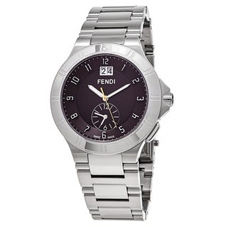 Fendi Men's F478120 'High Speed' Brown Dial Stainless Steel Dual Time Swiss Quartz Watch