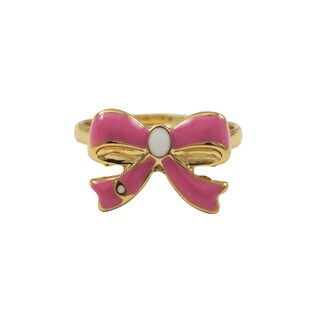 Luxiro Gold Finish Hot Pink Enamel Bow Children's Ring