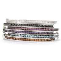 Pinctore Sterling Silver Round Gemstone Bangle Bracelet