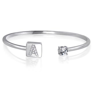 Icz Stonez Sterling Silver Cubic Zirconia Initial Bangle