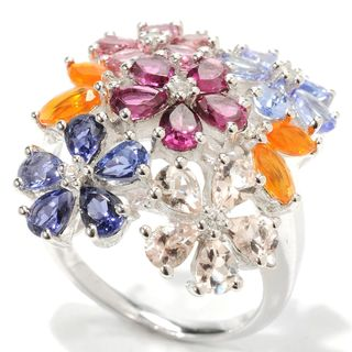 Sterling Silver Multi Gemstone Flower Ring