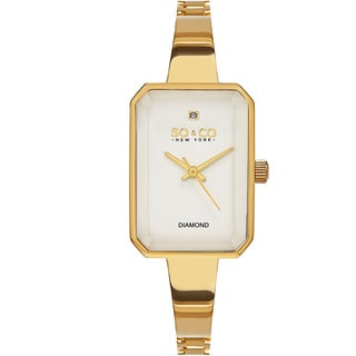 SO&CO New York Women's Madison White/Silvertone/Goldtone/Rosetone Mineral/Stainless Steel Diamond Quartz Bracelet Watch