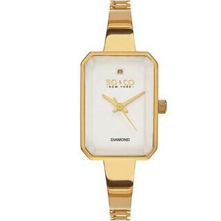 SO&CO New York Women's Madison White/Silvertone/Goldtone/Rosetone Mineral/Stainless Steel Diamond Quartz Bracelet Watch