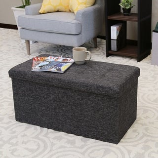 Seville Classics Foldable Storage Bench/Ottoman, Charcoal Grey
