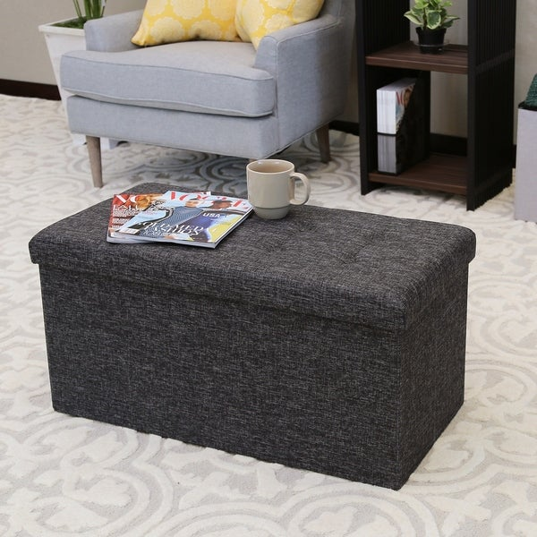 Seville Classics Foldable Storage Bench/Ottoman Charcoal Grey & Shop Seville Classics Foldable Storage Bench/Ottoman Charcoal Grey ...