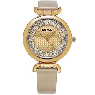 SO&CO New York Women's SoHo Leather/Mineral Strap Watch|https://ak1.ostkcdn.com/images/products/11923684/P18813765.jpg?impolicy=medium