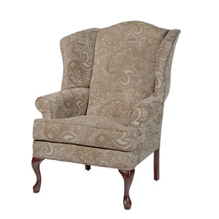 Elaina Cream Paisley Print Wingback Accent Chair By Greyson Living
