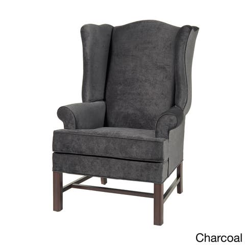 Treviso Wingback Cherry Wood/ Microfiber Accent Chairs by Greyson Living