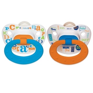 NUK Blue/Orange Baby Talk Orthodontic Pacifier for 0 to 6 Months (Set of 2)